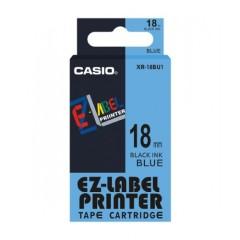 Originálná páska Casio XR-18BU1, 18mm, čierna tlač na modrom podklade