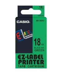 Originálná páska Casio XR-18GN1, 18mm, čierna tlač na zelenom podklade