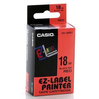 Originálná páska Casio XR-18RD1, 18mm, čierna tlač na červenom podklade