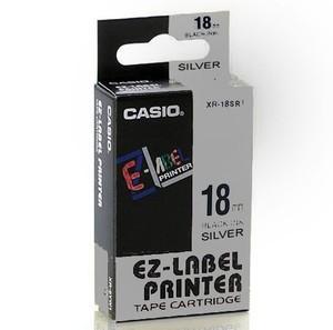 Originálná páska Casio XR-18SR1, 18mm, čierna tlač na striebornom podklade