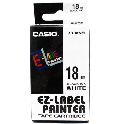 Originálná páska Casio XR-18WE1, 18mm, čierna tlač na bielom podklade
