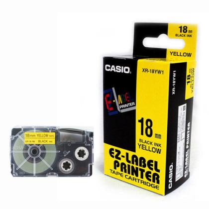 Originálná páska Casio XR-18YW1, 18mm, čierna tlač na žltom podklade