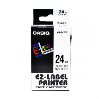 Originálná páska Casio XR-24WE1, 24mm, čierna tlač na bielom podklade