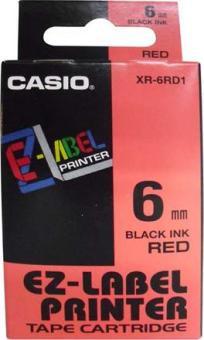 Originálná páska Casio XR-6RD1, 6mm, čierna tlač na červenom podklade