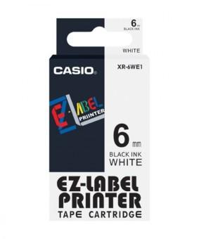 Originálná páska Casio XR-6WE1, 6mm, čierna tlač na bielom podklade