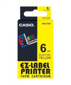 Originálná páska Casio XR-6YW1, 6mm, čierna tlač na žltom podklade