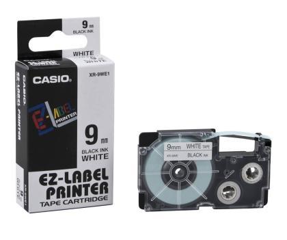 Originálná páska Casio XR-9WE1, 9mm, čierna tlač na bielom podklade