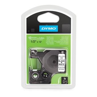 Originálná páska DYMO 16957 (S0718040), 12mm, čierna tlač na bielom podklade, nylonová flexibilná