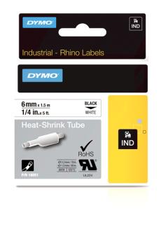 Originálná páska DYMO 18051 (S0718260), 6mm, čierna tlač na bielom podklade, plochá zmršťovacia bužírka