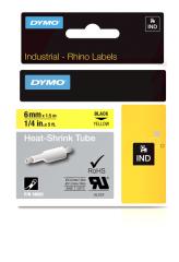 Originálná páska DYMO 18052 (S0718270), 6mm, čierna tlač na žltom podklade, plochá zmršťovacia bužírka