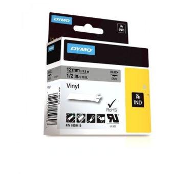 Originálná páska DYMO 1805413, 12mm, čierna tlač na šedom podklade, vinylová