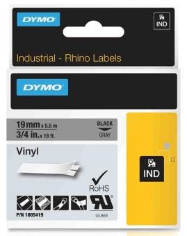 Originálná páska DYMO 1805419, 19mm, čierna tlač na šedom podklade, vinylová
