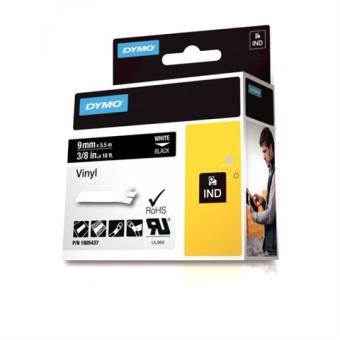 Originálná páska DYMO 1805437, 9mm, biela tlač na čiernom podklade, vinylová