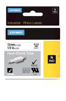 Originálná páska DYMO 18055 (S0718300), 12mm, čierna tlač na bielom podklade, plochá zmršťovacia bužírka
