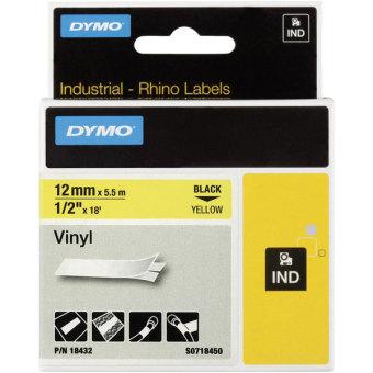 Originálná páska DYMO 18432 (S0718450), 12mm, čierna tlač na žltom podklade, vinylová