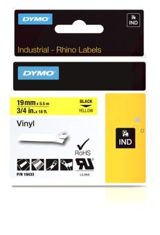 Originálná páska DYMO 18433 (S0718470), 19mm, čierna tlač na žltom podklade, vinylová