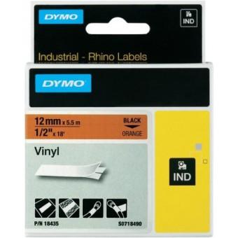 Originálná páska DYMO 18435 (S0718490), 12mm, čierna tlač na oranžovom podklade, vinylová
