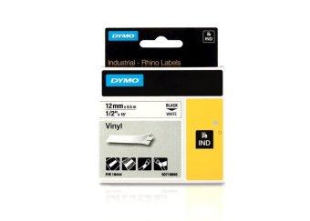 Originálná páska DYMO 18444 (S0718600), 12mm, čierna tlač na bielom podklade, vinylová