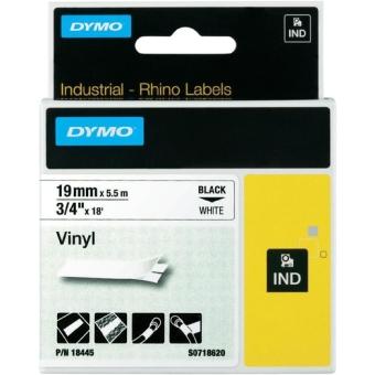 Originálná páska DYMO 18445 (S0718620), 19mm, čierna tlač na bielom podklade, vinylová