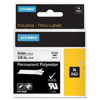 Originálná páska DYMO 18482, 9mm, čierna tlač na bielom podklade, permanentná polyesterová