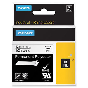 Originálná páska DYMO 18483, 12mm, čierna tlač na bielom podklade, permanentná polyesterová