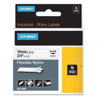 Originálná páska DYMO 18489, 19mm, čierna tlač na bielom podklade, nylonová flexibilná