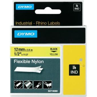 Originálná páska DYMO 18490, 12mm, čierna tlač na žltom podklade, nylonová flexibilná
