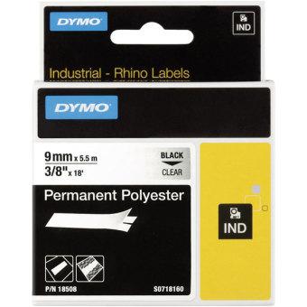 Originálná páska DYMO 18508 (S0718160), 9mm, čierna tlač na priesvitnom podklade, permanentná polyesterová