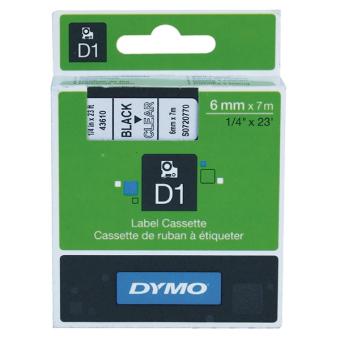 Originálná páska DYMO 43610 (S0720770), 6mm, čierna tlač na priesvitnom podklade