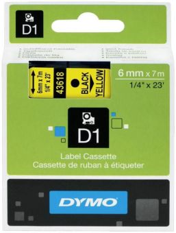 Originálná páska DYMO 43618 (S0720790), 6mm, čierna tlač na žltom podklade