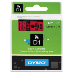 Originálná páska DYMO 45017 (S0720570), 12mm, čierna tlač na červenom podklade