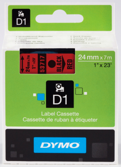 Originálná páska DYMO 53717 (S0720970), 24mm, čierna tlač na červenom podklade