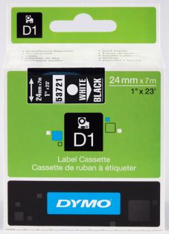Originálná páska DYMO 53721 (S0721010), 24mm, biela tlač na čiernom podklade
