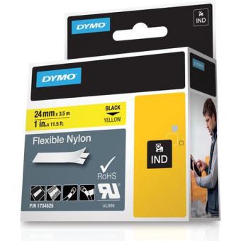 Originálná páska DYMO 1734525 (S0773850), 24mm, čierna tlač na žltom podklade, nylonová flexibilná