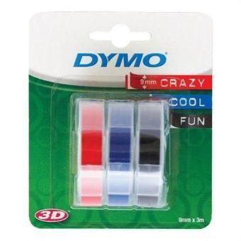 Originálná páska DYMO S0847750, 9mm, biela tlač na čiernom, modrom a červenom podklade