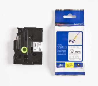 Originálná páska Brother TZE-FX221, 9mm, čierna tlač na bielom podklade, flexibilné