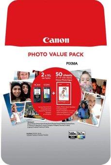 Sada originálných cartridge Canon PG-560XL+CL-561XL (Čierna a farebná) + fotopapier